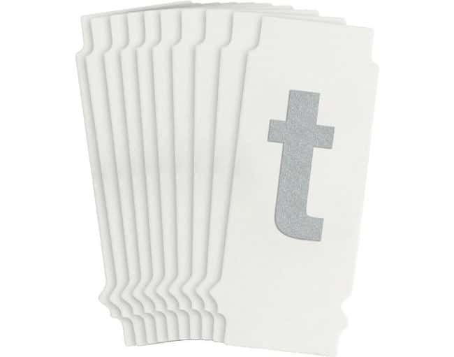 Brady Reflective Quik-Lite Ten Packs - Printed Letter Lower Case: t:Gloves,