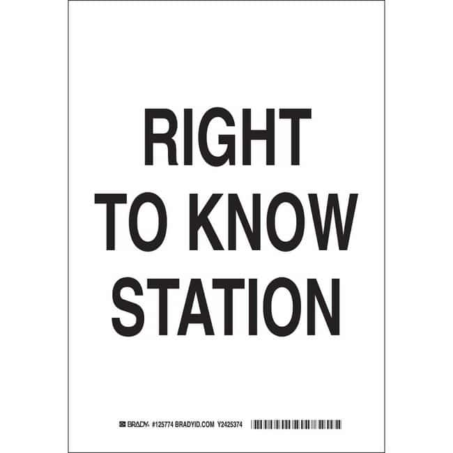 Brady Aluminum Sign: RIGHT TO KNOW STATION 10 x 7 in.:Gloves, Glasses and