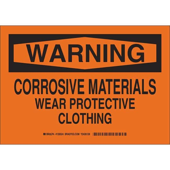 Brady Aluminum Sign: WARNING - CORROSIVE MATERIALS. WEAR PROTECTIVE CLOTHING.
