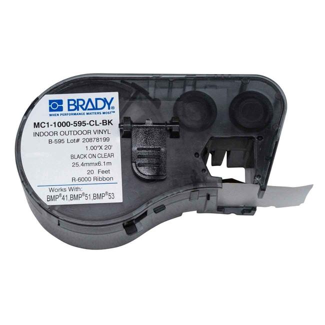 Brady™Industrielles Vinyletikettenzubehör der M-Serie für den Innen- und Außenbereich 1Zoll B x 20Fuß L, Schwarz auf klar Produkte