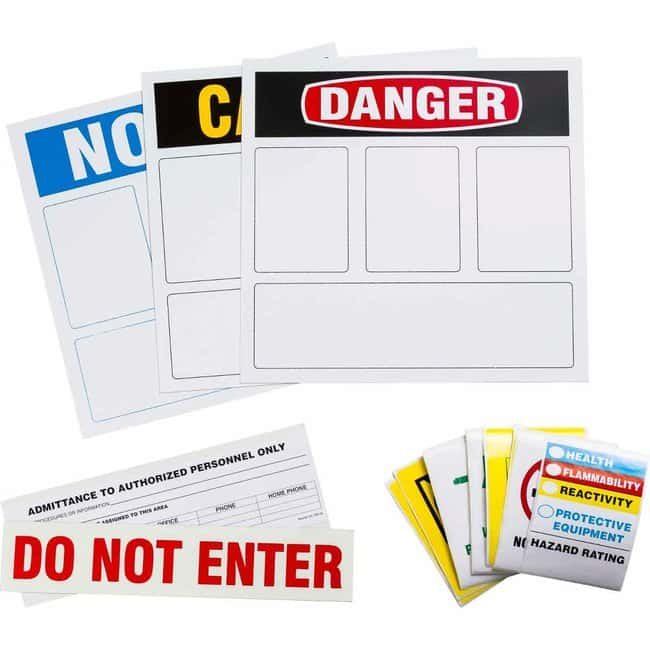 Brady Sign Kit: Hazard Area ID Kit, Assorted Legends Sign Kit: Hazard Area