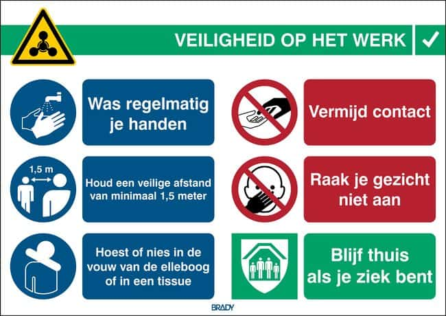 Brady™Safety Sign COVID-19 General Safety Information Dutch Brady™Safety Sign COVID-19 General Safety Information