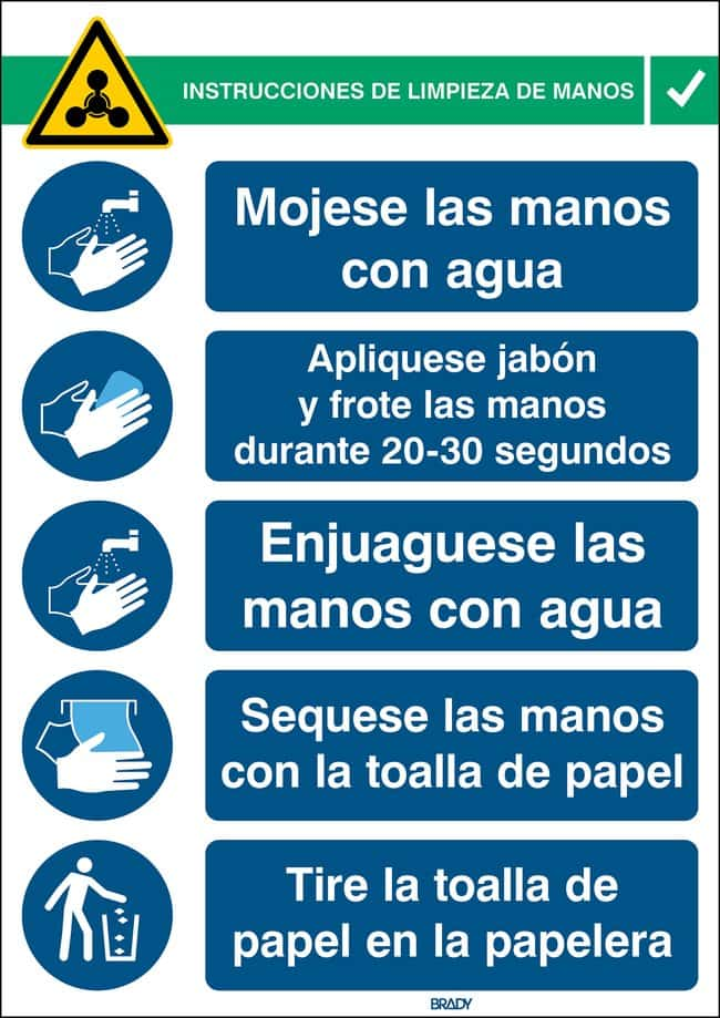 Brady™ Safety Sign Hand Wash Instructions Spanish Brady™ Safety Sign Hand Wash Instructions