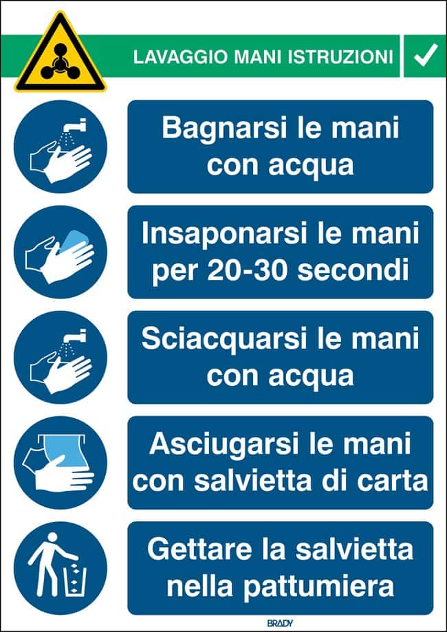 Brady™ Safety Sign Hand Wash Instructions Italian Brady™ Safety Sign Hand Wash Instructions