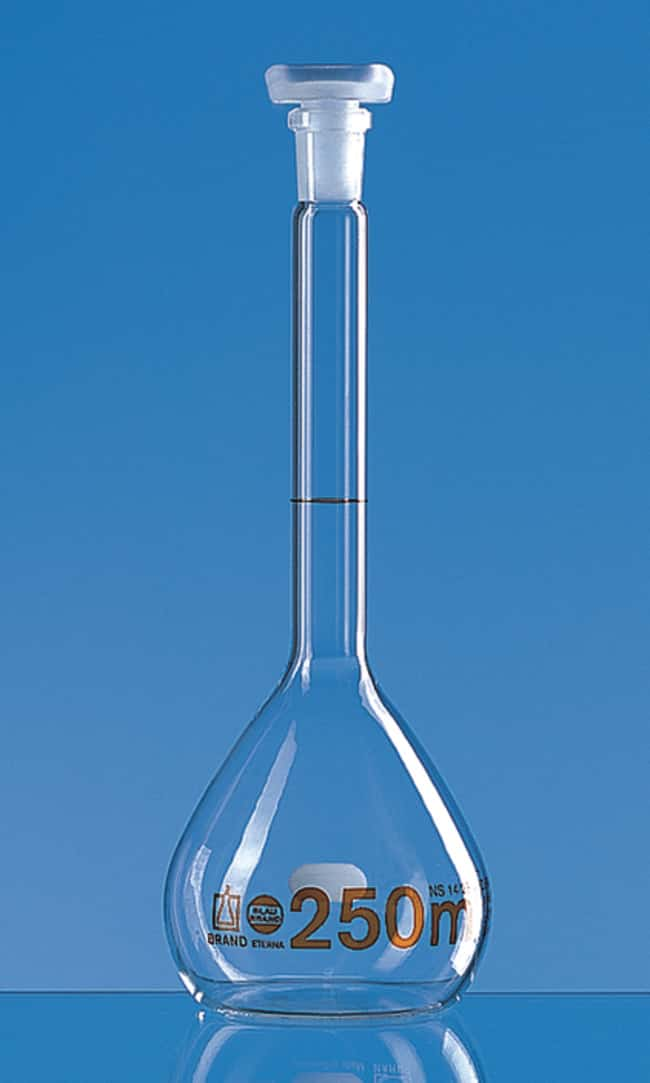 Brand™ Blaubrand™ ETERNA™ Class A Volumetric Flasks Clear; Polypropylene Stopper; Error limit: ±0.15mL Brand™ Blaubrand™ ETERNA™ Class A Volumetric Flasks