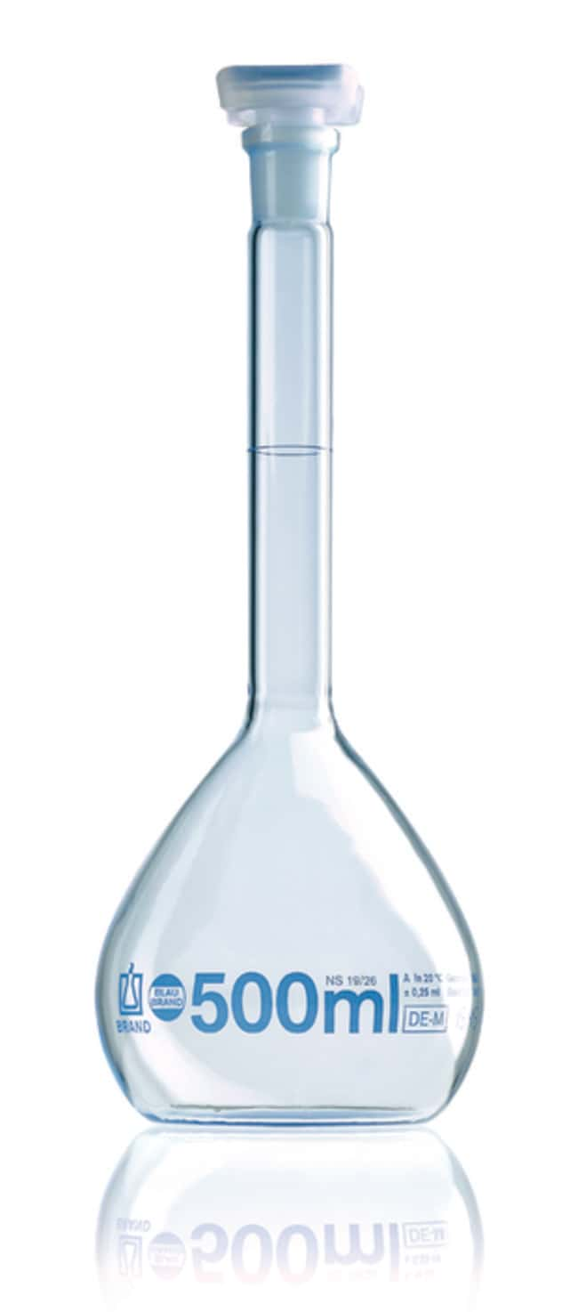 Brand™Blaubrand™ Class A Borosilicate Glass Volumetric Flask with Polypropylene Stopper Clear; Polypropylene Stopper; Error limit: ±0.04mL Brand™Blaubrand™ Class A Borosilicate Glass Volumetric Flask with Polypropylene Stopper