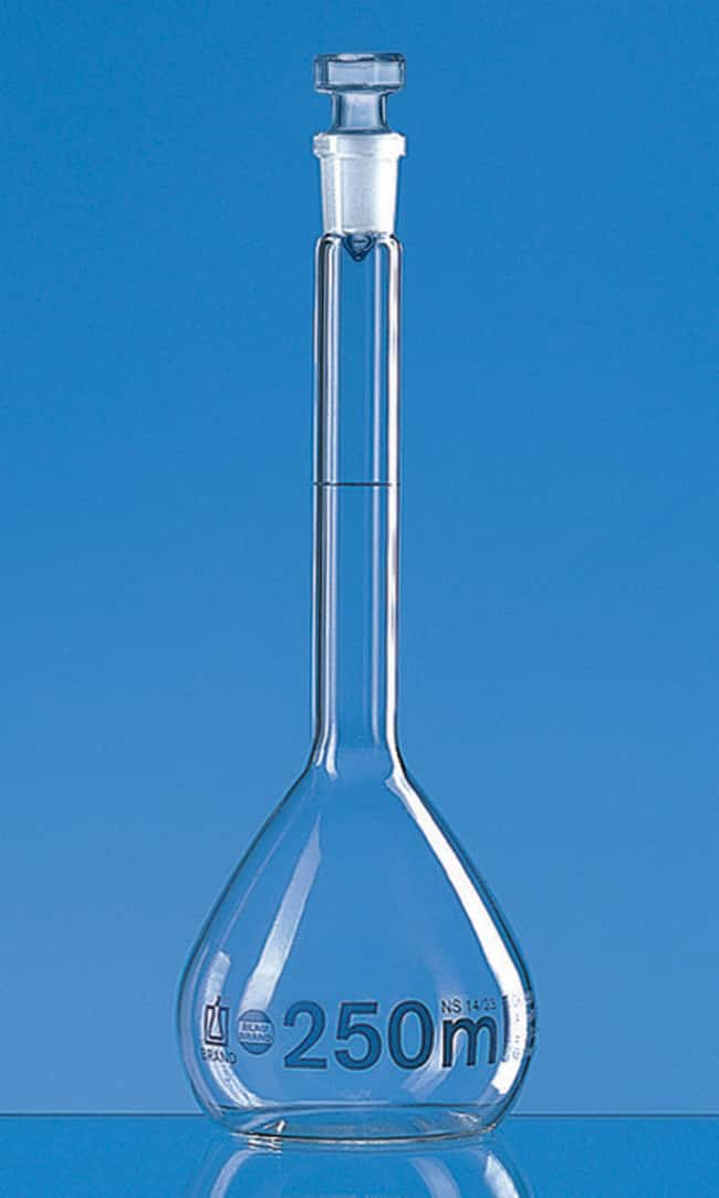Brand™Blaubrand™ Class A Borosilicate Glass Volumetric Flasks with Glass Stopper Clear; Glass Stopper; Error limit: ±0.15mL Brand™Blaubrand™ Class A Borosilicate Glass Volumetric Flasks with Glass Stopper