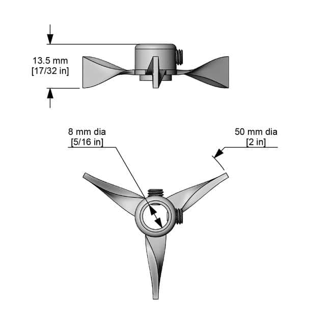 Cole-Parmer™ Propellers for ServoDyne™ Electronic Mixers Turbine style; Overall diameter: 2 in. (51mm) Cole-Parmer™ Propellers for ServoDyne™ Electronic Mixers