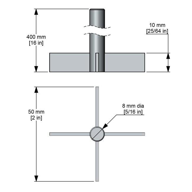 Caframo Crossed Blade Impeller Crossed Blade; 2 x 2 in. impeller; 16 in.