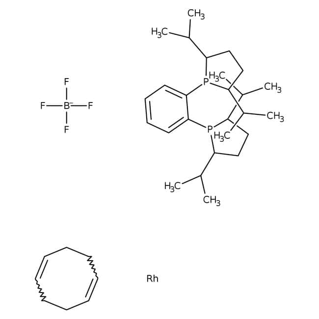 1,2-Bis((2S,5S)-2,5-diisopropylphospholano)benzene(cyclooctadiene)rhodium(I) tetrafluoroborate, 97%, ACROS Organics™