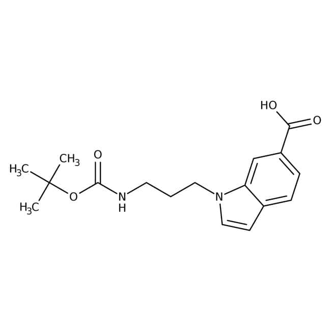 1-[3-(Boc-amino)propyl]indole-6-carboxylic acid, 97%, Alfa Aesar™ 250mg 1-[3-(Boc-amino)propyl]indole-6-carboxylic acid, 97%, Alfa Aesar™