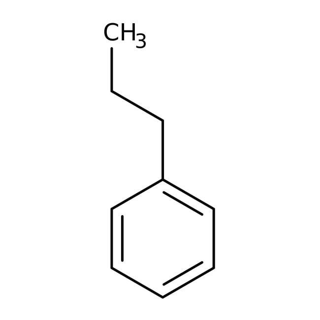 Propylbenzene, 98%, ACROS Organics™ 25g; Glass bottle Propylbenzene, 98%, ACROS Organics™