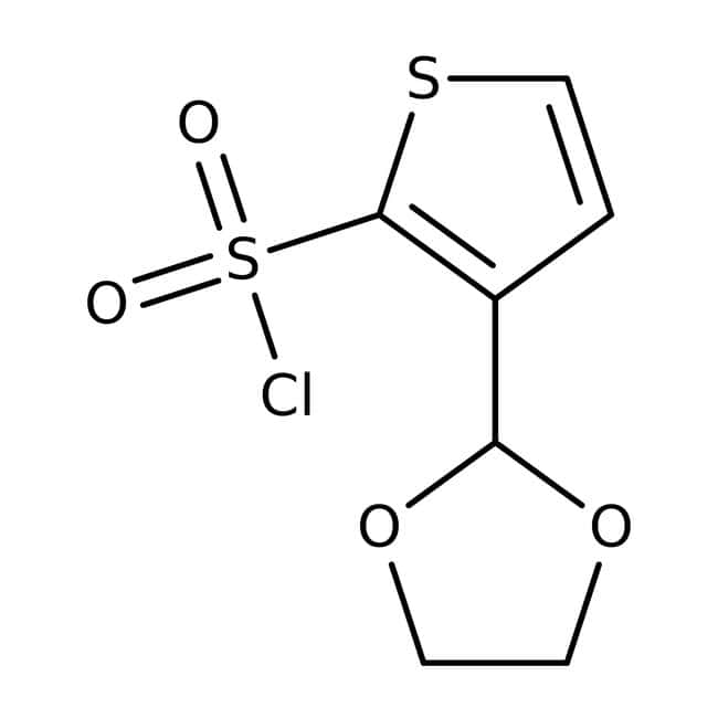 3-(1,3-Dioxolan-2-yl)thiophene-2-sulfonyl chloride, ≥97%, Maybridge™ Amber Glass Bottle; 250mg 3-(1,3-Dioxolan-2-yl)thiophene-2-sulfonyl chloride, ≥97%, Maybridge™