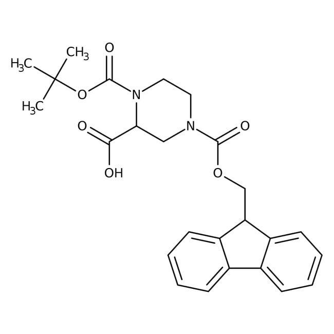 1-tert-butyle 4-(9-H-fluoren-9-ylméthyl) hydrogène (2S)-pipérazine-1,2,4-tricarboxyle, 97%, Maybridge Flacon en verre ambré ; 1g 1-tert-butyle 4-(9-H-fluoren-9-ylméthyl) hydrogène (2S)-pipérazine-1,2,4-tricarboxyle, 97%, Maybridge