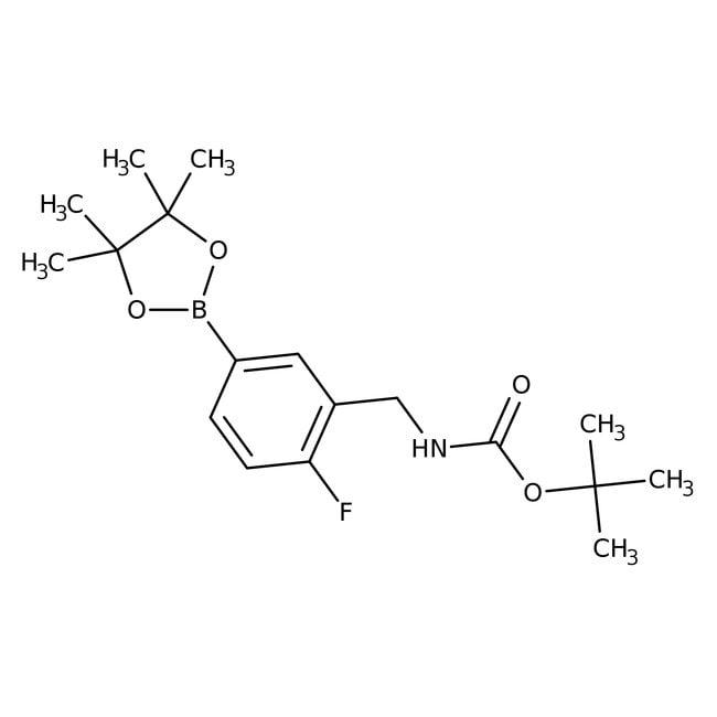 Alfa Aesar™3-(Boc-aminomethyl)-4-fluorobenzeneboronic acid pinacol ester, 96% 1g Alfa Aesar™3-(Boc-aminomethyl)-4-fluorobenzeneboronic acid pinacol ester, 96%