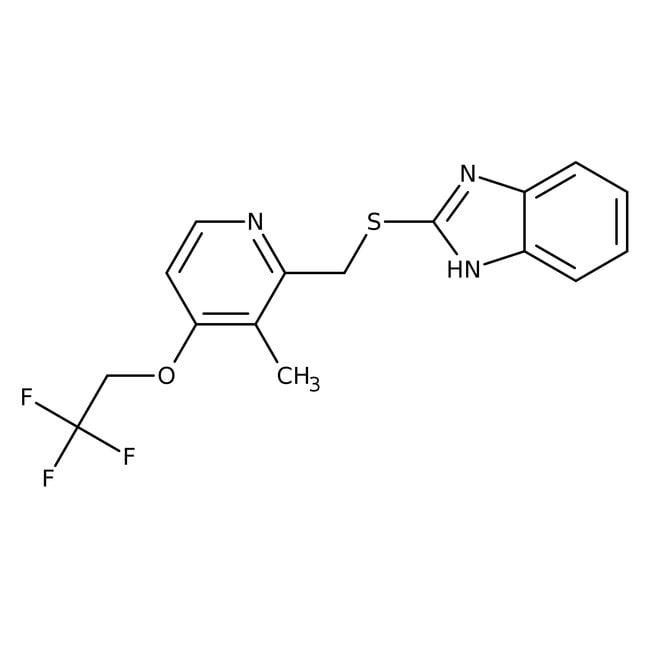 2-[3-Methyl-4-(2,2,2-trifluoroethoxy)-2-pyridylmethylthio]-1H-benzimidazole, 98%, Alfa Aesar™ 5g 2-[3-Methyl-4-(2,2,2-trifluoroethoxy)-2-pyridylmethylthio]-1H-benzimidazole, 98%, Alfa Aesar™