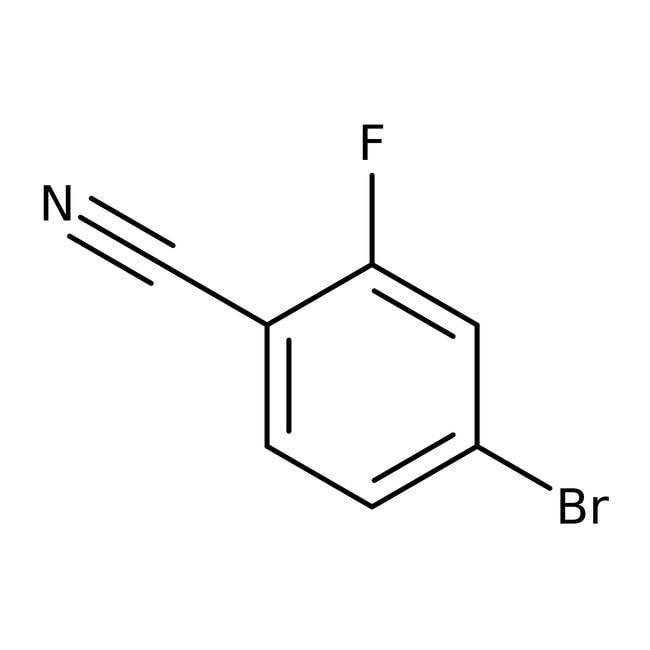 4-Bromo-2-fluorobenzonitrile, 99+%, ACROS Organics™ 25g; Glass bottle 4-Bromo-2-fluorobenzonitrile, 99+%, ACROS Organics™