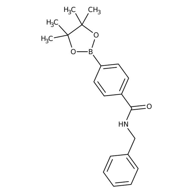 Alfa Aesar™Éster de pinacol de ácido 4-(bencilaminocarbonil)bencenoborónico, 97% 5g Alfa Aesar™Éster de pinacol de ácido 4-(bencilaminocarbonil)bencenoborónico, 97%