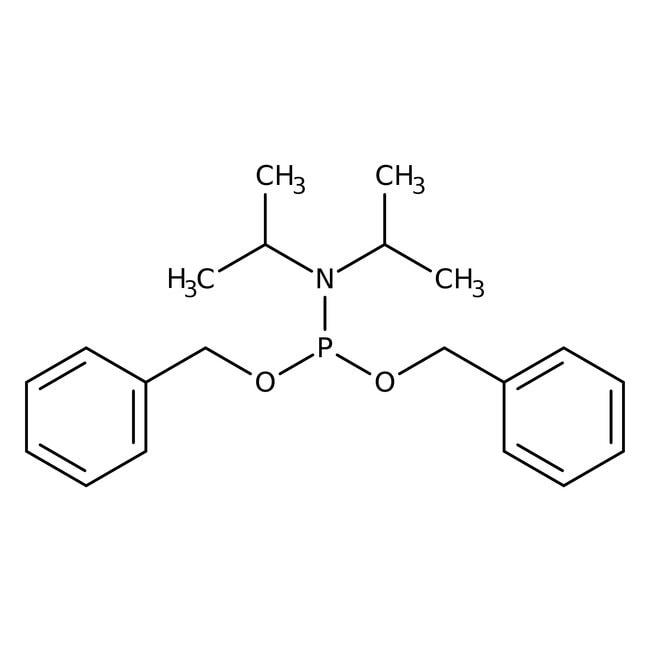 Dibenzyl N,N-diisopropylphosphoramidite, 90+%, ACROS Organics™ 25g, Glass bottle Dibenzyl N,N-diisopropylphosphoramidite, 90+%, ACROS Organics™