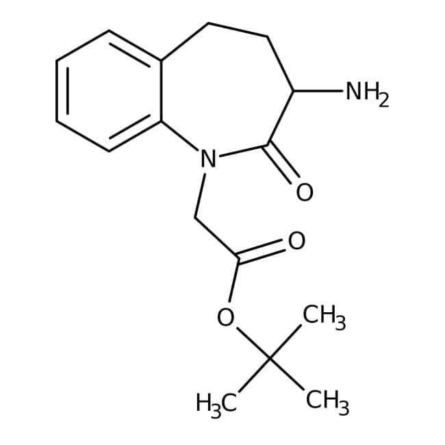 Tert-Butyl (S)-2-(3-Amino-2-Oxo-2,3,4,5-Tetrahydro-1 H-benzo[b]azepin-1-yl)acetat, 98%, Alfa Aesar™ 5g Tert-Butyl (S)-2-(3-Amino-2-Oxo-2,3,4,5-Tetrahydro-1 H-benzo[b]azepin-1-yl)acetat, 98%, Alfa Aesar™