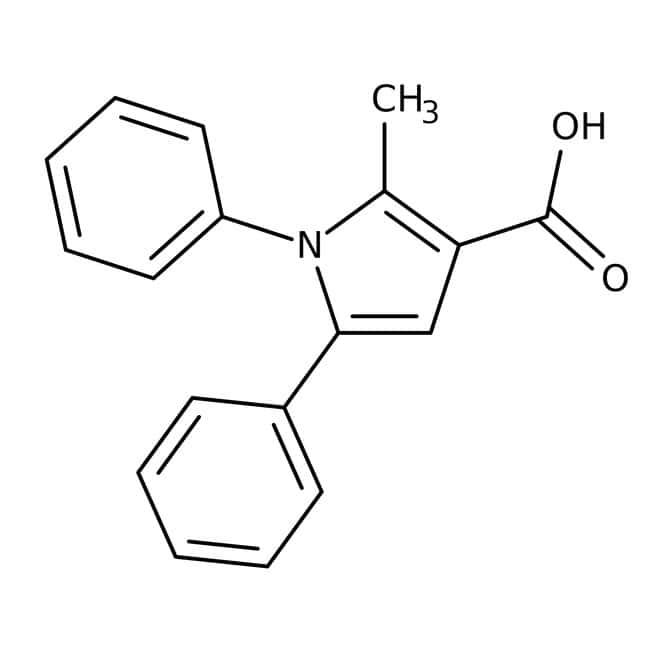 Acide 2-Méthyl-1,5-diphényl-1H-pyrrole-3-carboxylique, 97 %, Maybridge Flacon en verre ambré ; 1 g Acide 2-Méthyl-1,5-diphényl-1H-pyrrole-3-carboxylique, 97 %, Maybridge