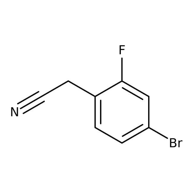 Cyanure de 4-bromo-2-fluorobenzyle, 98%, Acros Organics 5g; flacon en verre Cyanure de 4-bromo-2-fluorobenzyle, 98%, Acros Organics