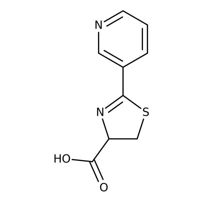 2-Pyrid-3-yl-4,5-dihydro-1,3-thiazol-4-carbonsäure, ≥97%, Maybridge Braunglasflasche, 250mg 2-Pyrid-3-yl-4,5-dihydro-1,3-thiazol-4-carbonsäure, ≥97%, Maybridge