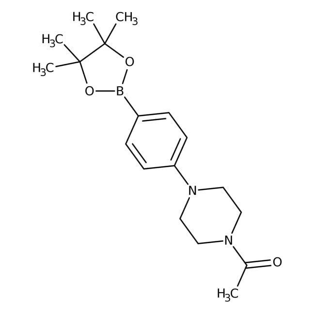 Alfa Aesar™4-(4-Acetyl-1-piperazinyl)benzeneboronic acid pinacol ester, 95% 250mg Alfa Aesar™4-(4-Acetyl-1-piperazinyl)benzeneboronic acid pinacol ester, 95%