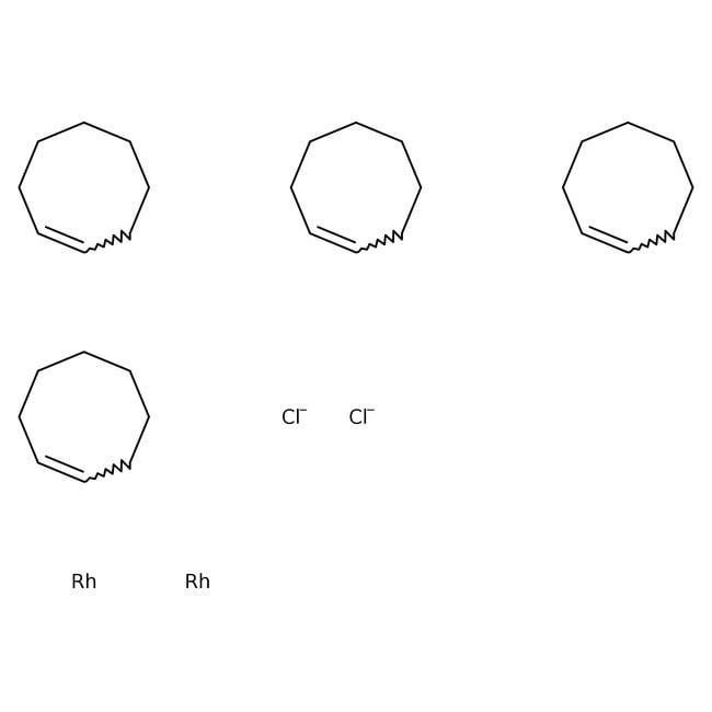 Chlorobis(cyclooctene)rhodium(I) dimer, 98%, ACROS Organics™ 100mg, Glass bottle Chlorobis(cyclooctene)rhodium(I) dimer, 98%, ACROS Organics™