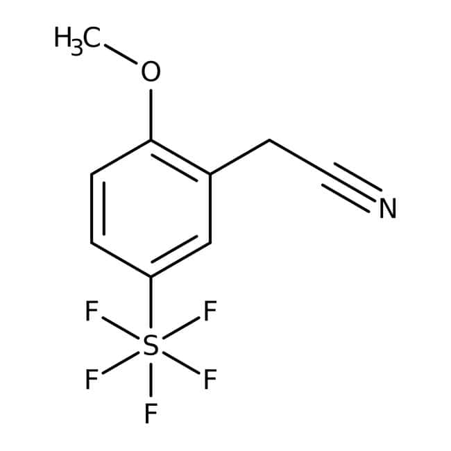 Alfa Aesar™2-Methoxy-5-(pentafluorothio)phenylacetonitrile, 97% 1g Alfa Aesar™2-Methoxy-5-(pentafluorothio)phenylacetonitrile, 97%