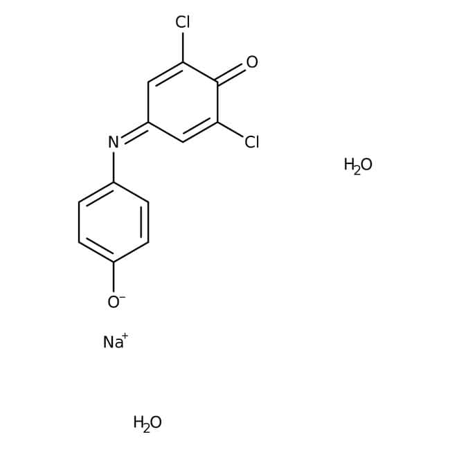 2,6-Dichloroindophenol, sodium salt hydrate, 98+%, ACROS Organics™ Glass bottle; 100g 2,6-Dichloroindophenol, sodium salt hydrate, 98+%, ACROS Organics™