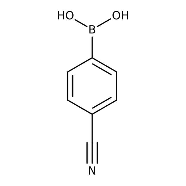 4-Cyanophenylboronsäure, 97% kann unterschiedliche Mengen des Anhydrids enthalten, Acros Organics™ 1g 4-Cyanophenylboronsäure, 97% kann unterschiedliche Mengen des Anhydrids enthalten, Acros Organics™