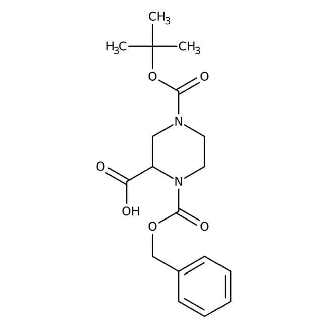 Alfa Aesar™(+/-)-1-Benzyloxycarbonyl-4-Boc-piperazine-2-carboxylic acid, 97% 5g Alfa Aesar™(+/-)-1-Benzyloxycarbonyl-4-Boc-piperazine-2-carboxylic acid, 97%