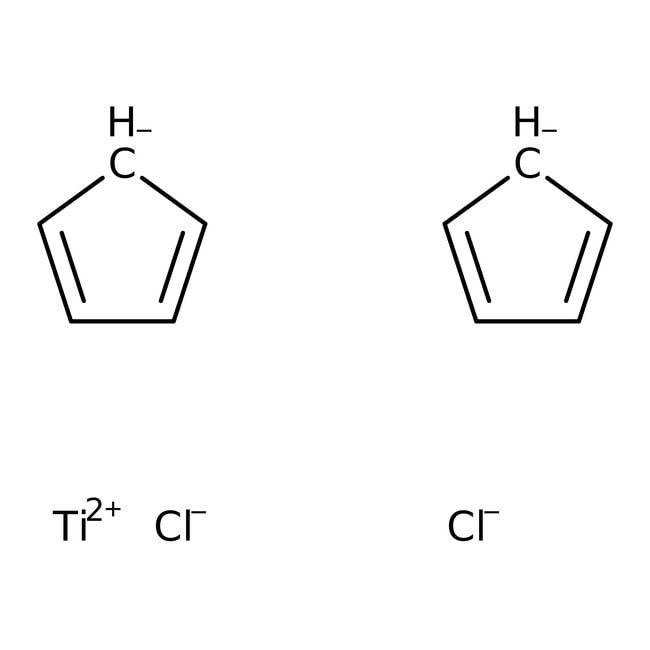 Bis(cyclopentadienyl)titanium dichloride, 97%, ACROS Organics™ 50g; Glass bottle Bis(cyclopentadienyl)titanium dichloride, 97%, ACROS Organics™