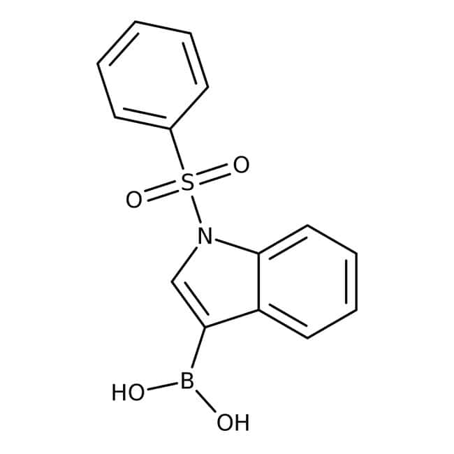 1-(Phenylsulfonyl)-1H-indol-3-ylboronic acid, 97%, May contain varying amounts of anhydri, Maybridge™ Amber Glass Bottle; 250mg prodotti trovati
