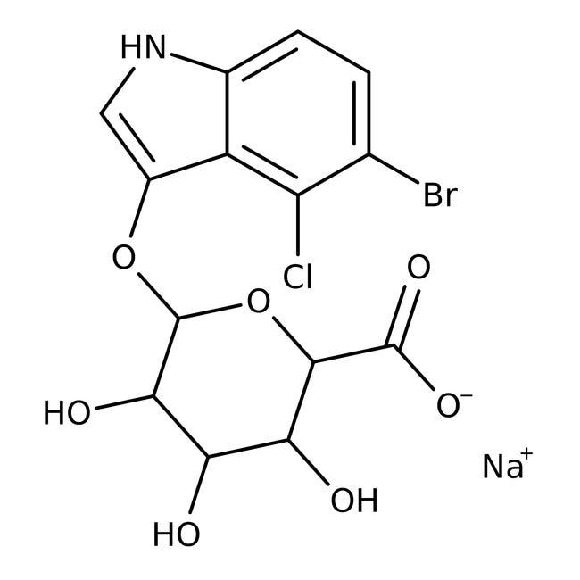 Alfa Aesar™5-Bromo-4-chloro-3-indolyl beta-D-glucuronide sodium salt, 98% 1g Alfa Aesar™5-Bromo-4-chloro-3-indolyl beta-D-glucuronide sodium salt, 98%