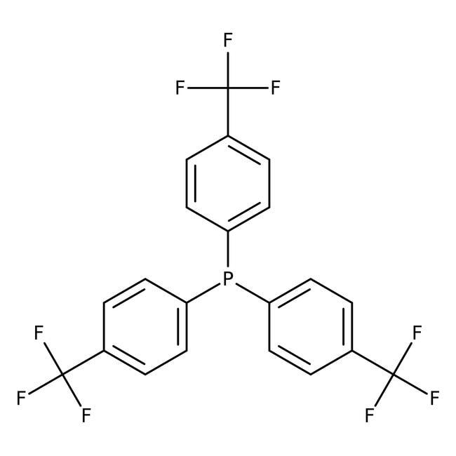 Tris(4-trifluorometilfenil)fosfina, 99%, ACROS Organics™ 5g; frasco de vidrio Tris(4-trifluorometilfenil)fosfina, 99%, ACROS Organics™