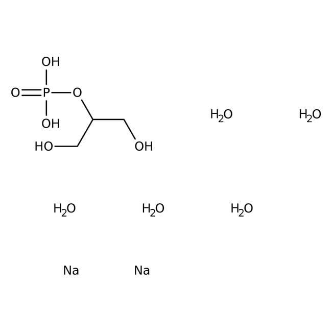 β-Glycerinphosphorsäure, Dinatriumsalzpentahydrat, 98%, Acros Organics™ Glasflasche; 25g β-Glycerinphosphorsäure, Dinatriumsalzpentahydrat, 98%, Acros Organics™