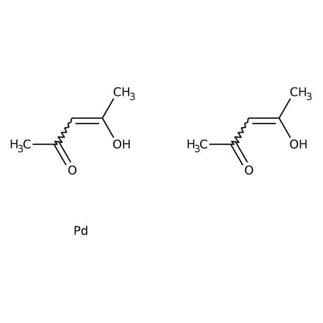 Palladium(II) acetylacetonate, 35% Pd, ACROS Organics™ 1g; Glass bottle Palladium(II) acetylacetonate, 35% Pd, ACROS Organics™
