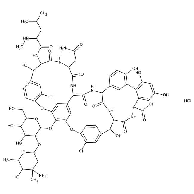 Vancomycin hydrochloride, >900 microgram/mg, ACROS Organics™ 5g; Glass bottle Vancomycin hydrochloride, >900 microgram/mg, ACROS Organics™