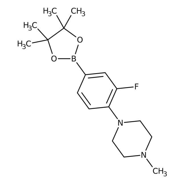 Alfa Aesar™3-Fluoro-4-(4-methyl-1-piperazinyl)benzeneboronic acid pinacol ester, 95% 1g Alfa Aesar™3-Fluoro-4-(4-methyl-1-piperazinyl)benzeneboronic acid pinacol ester, 95%