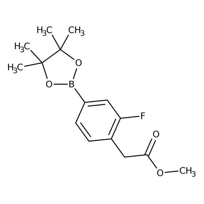 Alfa Aesar™3-Fluoro-4-(methoxycarbonylmethyl)benzeneboronic acid pinacol ester, 96% 1g Alfa Aesar™3-Fluoro-4-(methoxycarbonylmethyl)benzeneboronic acid pinacol ester, 96%