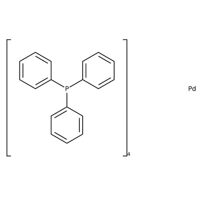 Tetrakis(triphenylphosphine)palladium(0), 99%, ACROS Organics™ 100g; Glass bottle Tetrakis(triphenylphosphine)palladium(0), 99%, ACROS Organics™