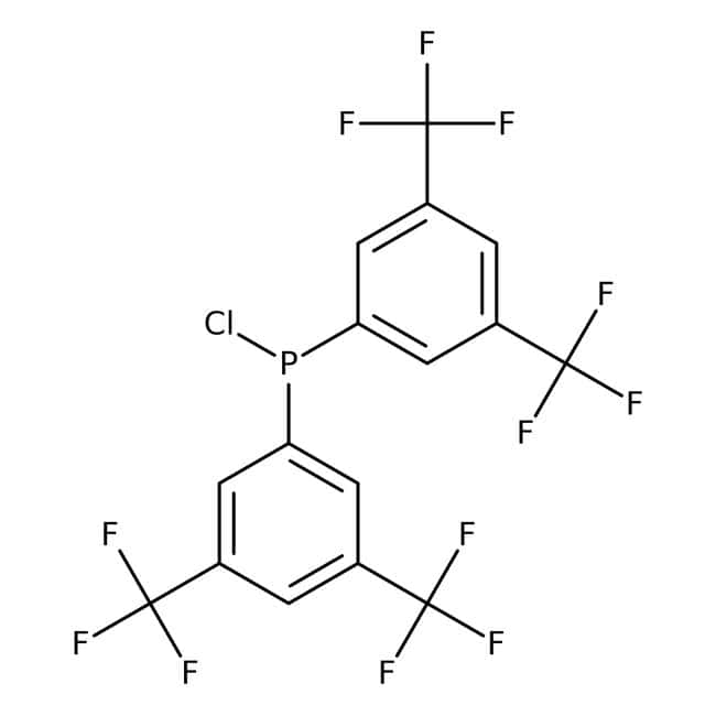 Chlorobis[3,5-bis(trifluoromethyl)phenyl]phosphine, 98+%, may contain suspended dimethylamine hydrochloride crystals, Alfa Aesar™ 1g Chlorobis[3,5-bis(trifluoromethyl)phenyl]phosphine, 98+%, may contain suspended dimethylamine hydrochloride crystals, Alfa Aesar™