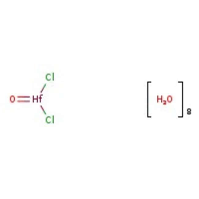 Alfa Aesar™Hafnium dichloride oxide octahydrate, Puratronic™, 99.998% (metals basis excluding Zr), Zr <1% 1g Alfa Aesar™Hafnium dichloride oxide octahydrate, Puratronic™, 99.998% (metals basis excluding Zr), Zr <1%