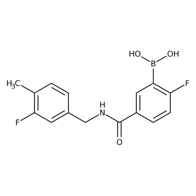 Alfa Aesar™2-Fluoro-5-(3-fluoro-4-methylbenzylcarbamoyl)benzeneboronic acid, 97% 1g Alfa Aesar™2-Fluoro-5-(3-fluoro-4-methylbenzylcarbamoyl)benzeneboronic acid, 97%