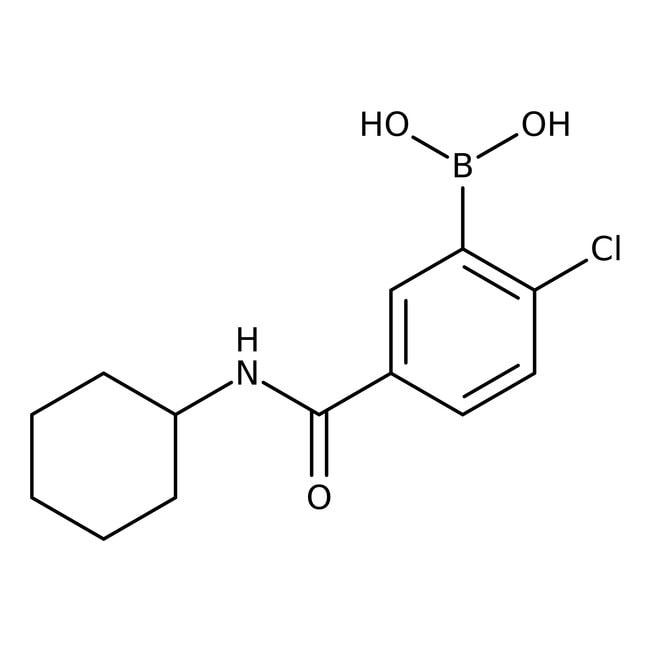 Alfa Aesar™2-Chloro-5-(cyclohexylcarbamoyl)benzeneboronic acid, 97% 250mg Alfa Aesar™2-Chloro-5-(cyclohexylcarbamoyl)benzeneboronic acid, 97%