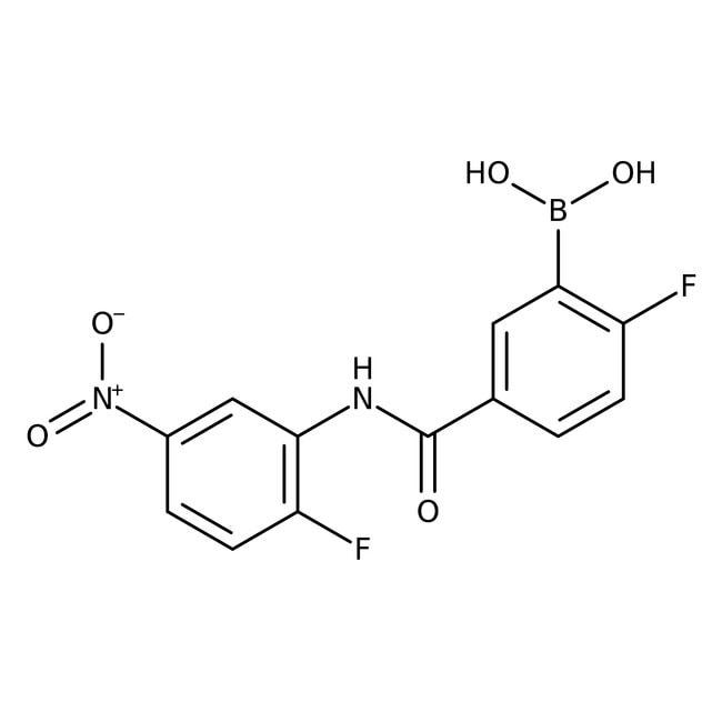 Alfa Aesar™2-Fluor-5-(2-fluor-5-nitrophenylcarbamoyl)benzenboronsäure, 97% 250mg Alfa Aesar™2-Fluor-5-(2-fluor-5-nitrophenylcarbamoyl)benzenboronsäure, 97%