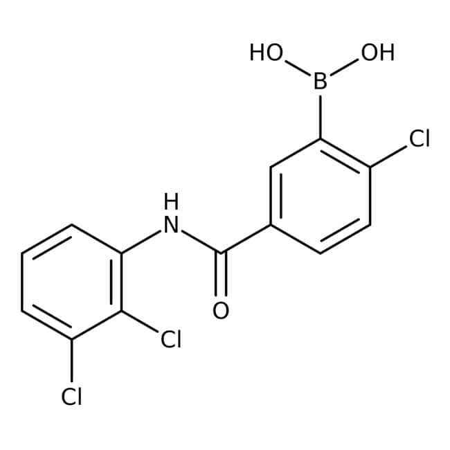 Alfa Aesar™2-Chlor-5-(2,3-dichlorphenylcarbamoyl)benzenboronsäure, 97% 1g Alfa Aesar™2-Chlor-5-(2,3-dichlorphenylcarbamoyl)benzenboronsäure, 97%