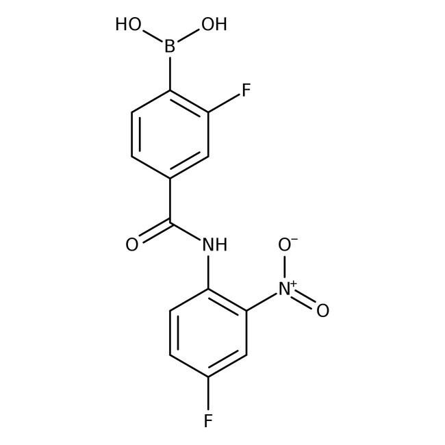 Alfa Aesar™2-Fluoro-4-(4-fluoro-2-nitrophenylcarbamoyl)benzeneboronic acid, 97% 250mg Alfa Aesar™2-Fluoro-4-(4-fluoro-2-nitrophenylcarbamoyl)benzeneboronic acid, 97%